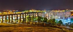 Amoreira Aqueduct at night in Elvas - Alentejo, Portugal