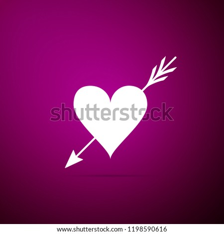 Amour symbol with heart and arrow icon isolated on purple background. Love sign. Valentines symbol. Flat design