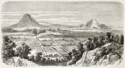 Amozoc de Mota old view, Mexico. Created by Provost after Cibot, published on L'Illustration, Paris, 1863