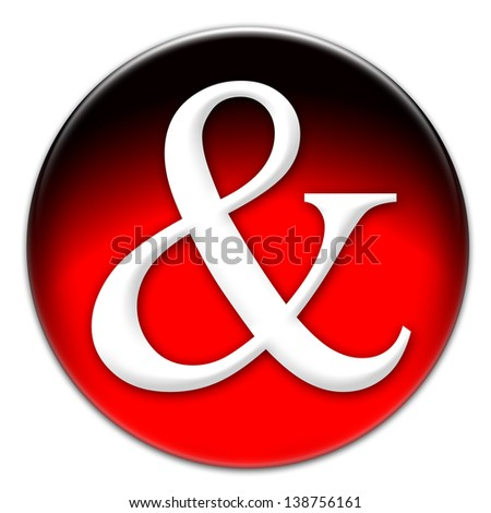 Ampersand or AND-symbol on a red glassy button isolated on white background