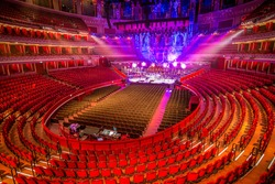Amphitheater and scene at Royal Albert Hall. London, Great Britain.