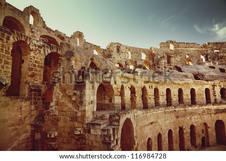 Amphitheater in El Jem, Tunisia