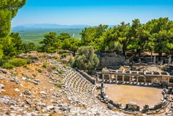 Amphitheater of Priene was an ancient Greek city of Ionia located at the base of an escarpment of Mycale, 6 kilometres north of Maeander River, Güllübahçe, Söke, Turkey