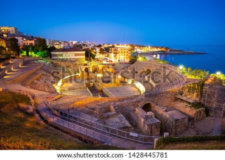 Amphitheater of Tarragona roman ruins at sunset in Catalonia Spain Zdjęcia stock ©