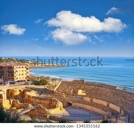 Amphitheater roman in Tarragona of Catalonia Amfiteatre Zdjęcia stock ©