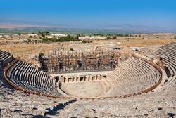 Amphitheater ruins at Pamukkale Turkey - architecture background