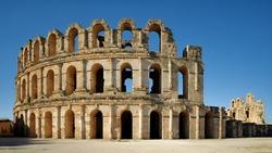 Amphitheatre in El JEM . Tunisia. North Africa.