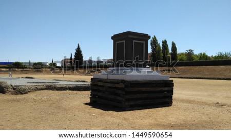 Amphitheatre in Merida (Augusta Emerita). Roman City - Temples, Theatres, Monuments, Sculptures and Arenas -  Estremadura, Spain #1449590654