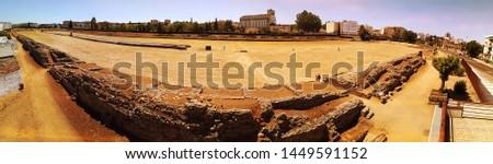 Amphitheatre in Merida (Augusta Emerita). Roman City - Temples, Theatres, Monuments, Sculptures and Arenas -  Estremadura, Spain #1449591152