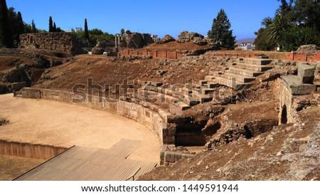 Amphitheatre in Merida (Augusta Emerita). Roman City - Temples, Theatres, Monuments, Sculptures and Arenas -  Estremadura, Spain #1449591944