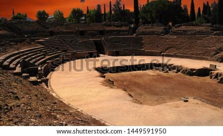 Amphitheatre in Merida (Augusta Emerita). Roman City - Temples, Theatres, Monuments, Sculptures and Arenas -  Estremadura, Spain #1449591950
