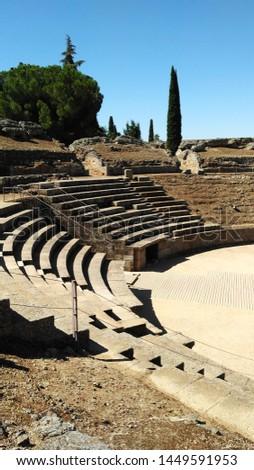 Amphitheatre in Merida (Augusta Emerita). Roman City - Temples, Theatres, Monuments, Sculptures and Arenas -  Estremadura, Spain #1449591953