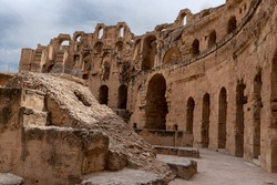 Amphitheatre of El Jem in Tunisia. Amphitheatre is in the modern-day city of El Djem, Tunisia, formerly Thysdrus in the Roman province of Africa. It is listed by UNESCO since 1979 World Heritage Site
