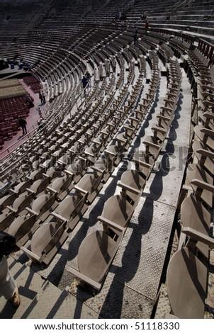 Amphitheatre seats of Verona Arena. Italy - stock photo