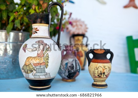 Amphora, Red-figure vase painting, Greek goddess Aphrodite with the grapes, ceramic pottery in Ancient Greece and Rome for the vine and olive oil