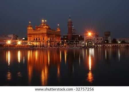 golden temple amritsar at night. stock photo : Amritsar Golden