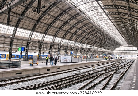 AMSTERDAM, APR 30: Interior of Central Station on April 30, 2013 in Amsterdam. The station is used by 250,000 passengers a day.