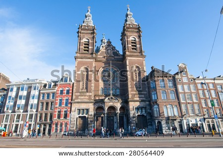 AMSTERDAM-APRIL 27: Facade of the Basilica of Saint Nicholas in the city centre district of Amsterdam on April 27,2015, the Netherlands. Basilica of Saint Nicholas is the city\'s major Catholic church.