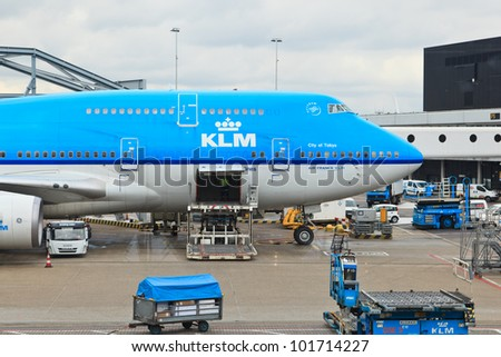AMSTERDAM - APRIL 23: KLM Royal Dutch Airlines Boeing 747-400 at Schiphol airport April 23, 2012, Amsterdam, Netherlands. KLM is the flag carrier airline of the Netherlands, it operates worldwide.