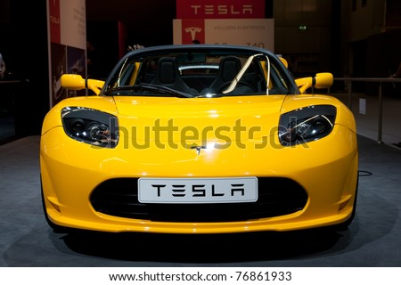 AMSTERDAM - APRIL 22 - Tesla Roadster Sport 2.5 on display during the AutoRAI motorshow April 22, 2011 in Amsterdam, The Netherlands. - stock photo