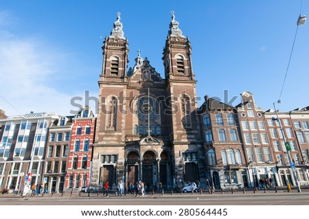 AMSTERDAM-APRIL 27: The Basilica of Saint Nicholas in the city centre district of Amsterdam on April 27,2015, the Netherlands. Basilica of Saint Nicholas is the city\'s major Catholic church.