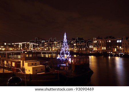 Amsterdam at christmastime in the Netherlands