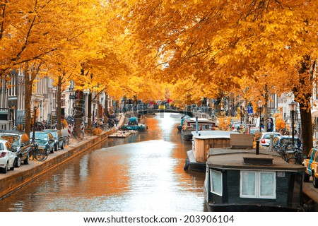 Amsterdam autumn. beautiful places in Europe