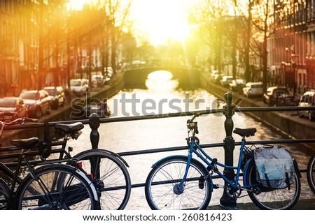 Amsterdam Bikes on the Channel Bridge. Amsterdam, Netherlands.