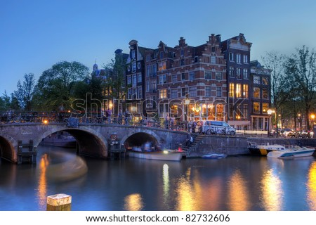 Amsterdam canal houses at the intersection between Prinsengracht and Brouwersgracht canals, The Netherlands