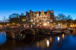 Amsterdam Canal Houses by night