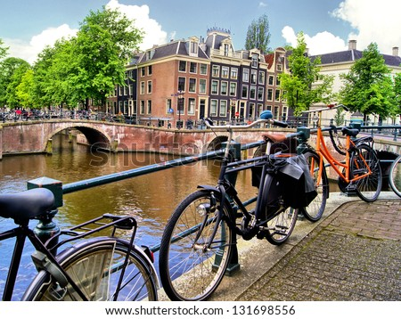 Amsterdam canal scene with bicycles and bridges