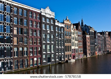 Amsterdam canal view, close to the center of the city