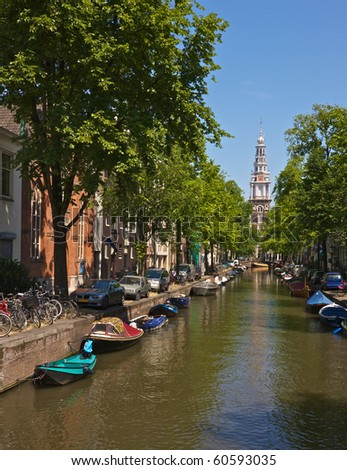 Amsterdam canal with Westertoren (West Tower)