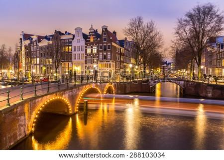 Amsterdam Canals West side at dusk Natherlands