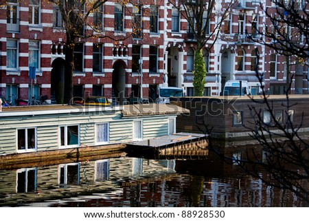 Amsterdam canals with homes on the water