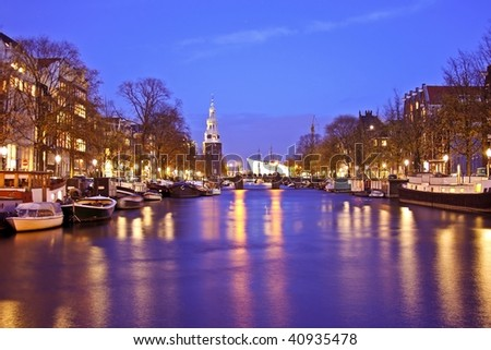 Amsterdam city by night with the Montelbaanstower