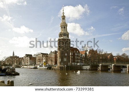 Amsterdam citycenter with the Montelbaanstower in the Netherlands
