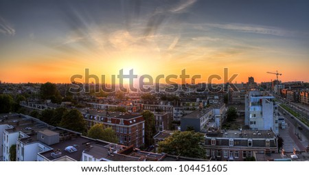 Amsterdam cityscape sunset HDR