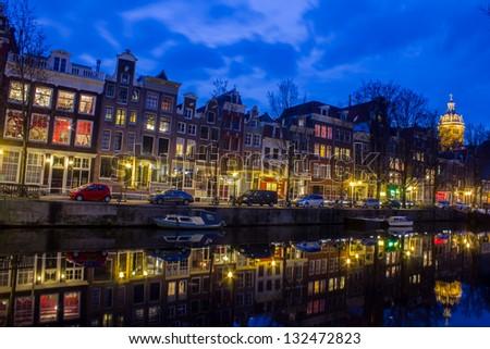 Amsterdam Grachten at the evening