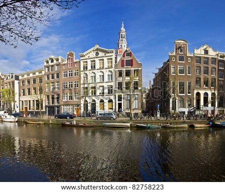 Amsterdam Life. Residential homes on the canal. Urban scene. Spring.