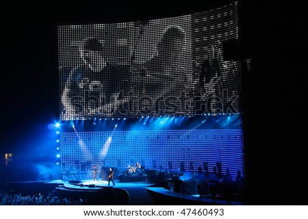 AMSTERDAM, NETHERLANDS - JULY 13: U2 in concert in the Amserdam ArenA  on July 13, 2005 in Amsterdam, Netherlands.