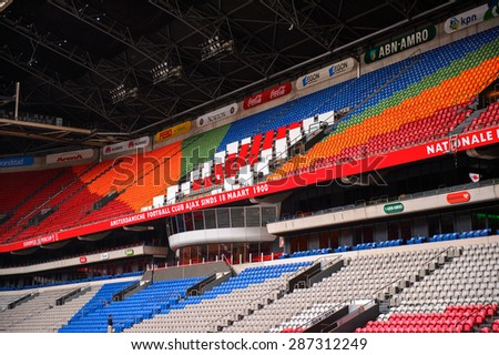 AMSTERDAM, NETHERLANDS - JUNE 2, 2015: Amsterdam Arena, the largest stadium in Netherlands. The home stadium for the AFC Ajax and the Netherlands national team #287312249