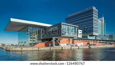 AMSTERDAM - NOVEMBER 27: The Bimhuis concert hall in November 27 2012 is a venue for jazz and improvised music in Amsterdam.