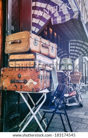 Amsterdam's antiques shop with vintage travel suitcases