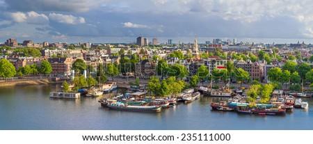 amsterdam skyline aerial...