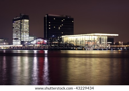 Amsterdam skyline at the IJ in the Netherlands