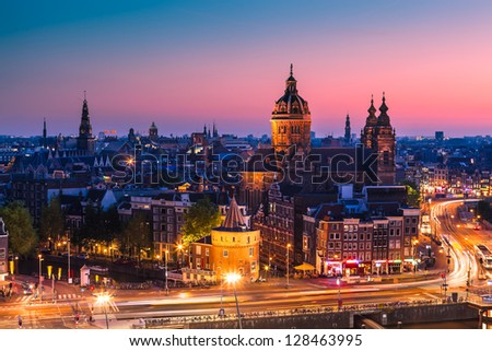 Amsterdam skyline shortly after sunset (the Netherlands)