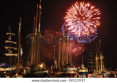AMSTERDAM,THE NETHERLANDS-AUGUST 20: Fire works at the Sail event 2010 on August 20, 2010 in Amsterdam,The Netherlands