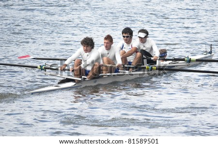 AMSTERDAM, THE NETHERLANDS - JULY 23: Men's rowing team from France participates in the World Rowing under 23 Championships held July 23, 2011 in Amsterdam, The Netherlands - stock photo