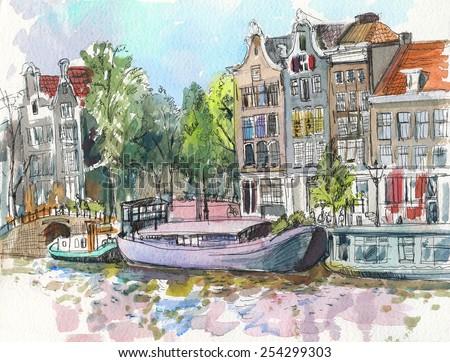 Amsterdam. Watercolor.